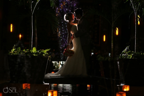 artistic night portrait, rain Wedding reception Dreams Riviera Cancun Resort, Mexico