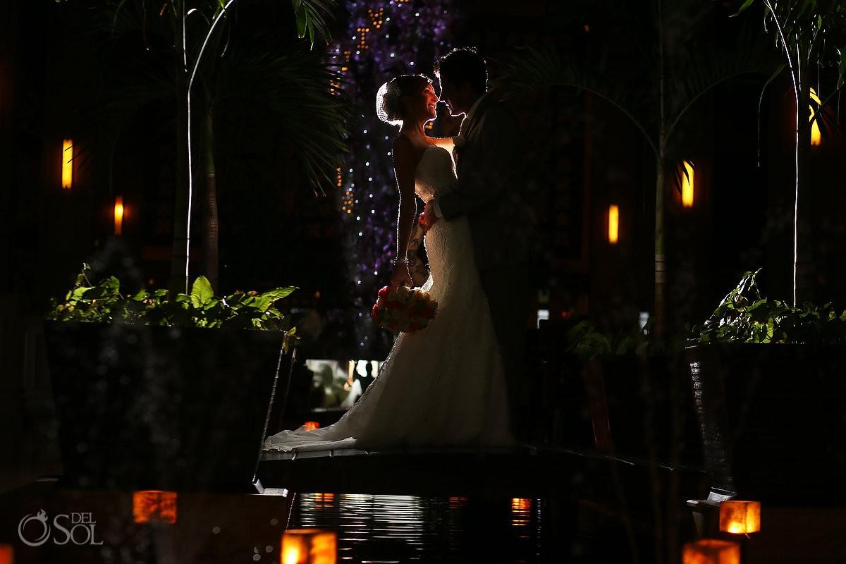 artistic night portrait, rain Wedding reception Dreams Riviera Cancun Resort, Mexico