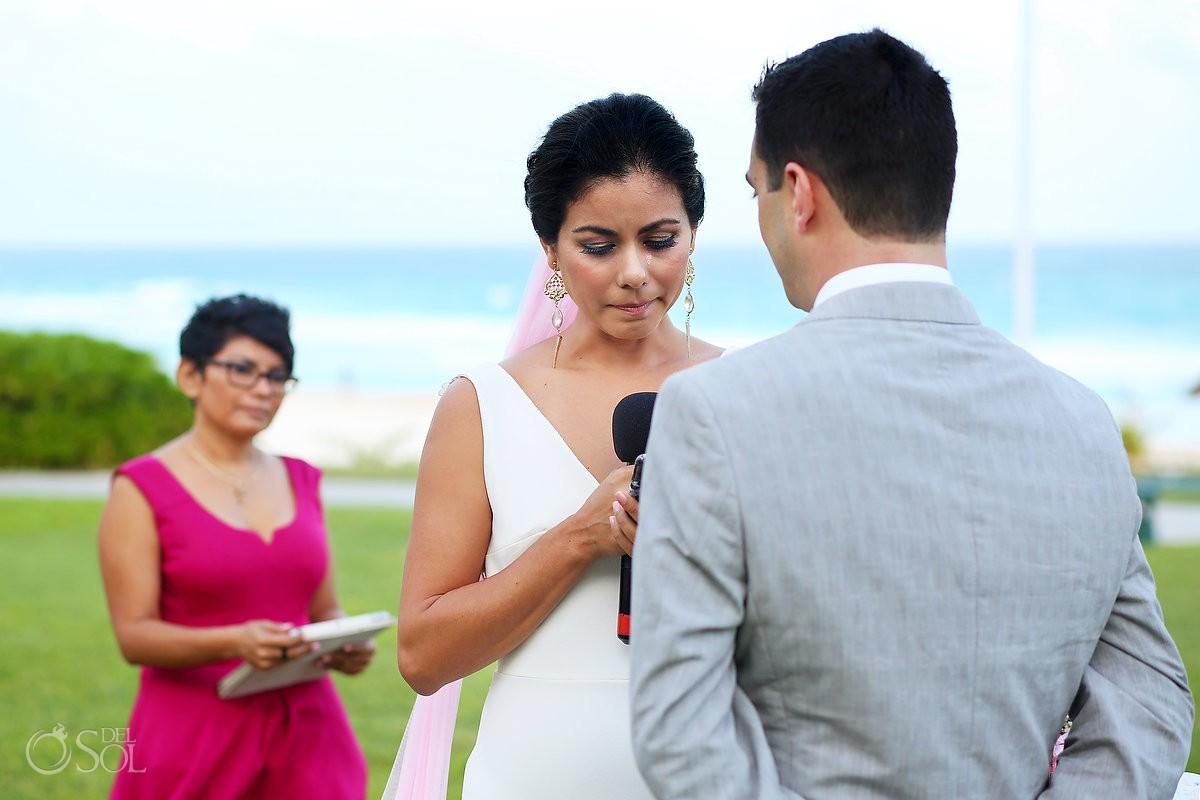 emotional bride crying vows, garden Wedding Iberostar Cancun, Mexico