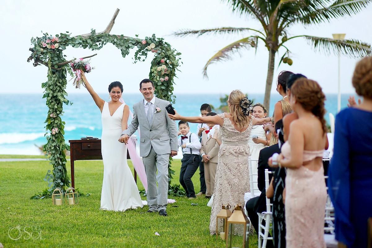 Ceremony exit celebration, garden Wedding Iberostar Cancun, Mexico
