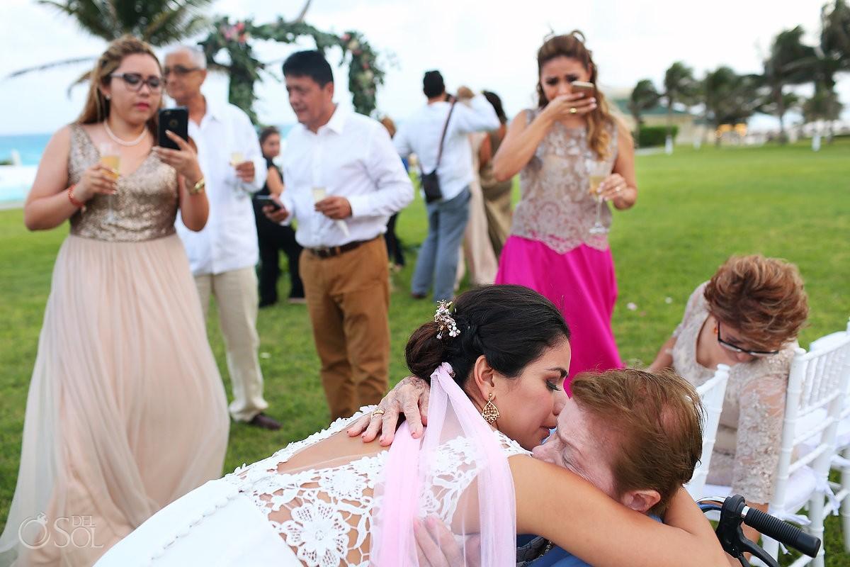 Bride hugs grandmother, garden Wedding Iberostar Cancun, Mexico