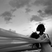black white dramatic bride portrait silhouette, garden Wedding Iberostar Cancun, Mexico