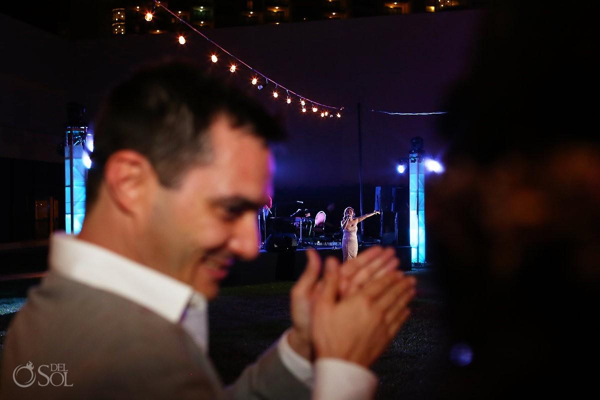 Groom clap speeches toasts, garden wedding reception, Iberostar Cancun, Mexico