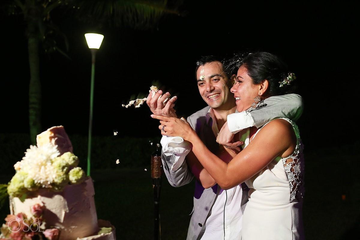 cake smash garden wedding reception, Iberostar Cancun, Mexico