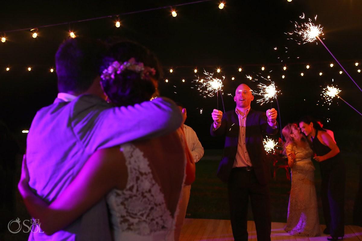 bride groom sparklers pink light garden wedding reception, Iberostar Cancun, Mexico