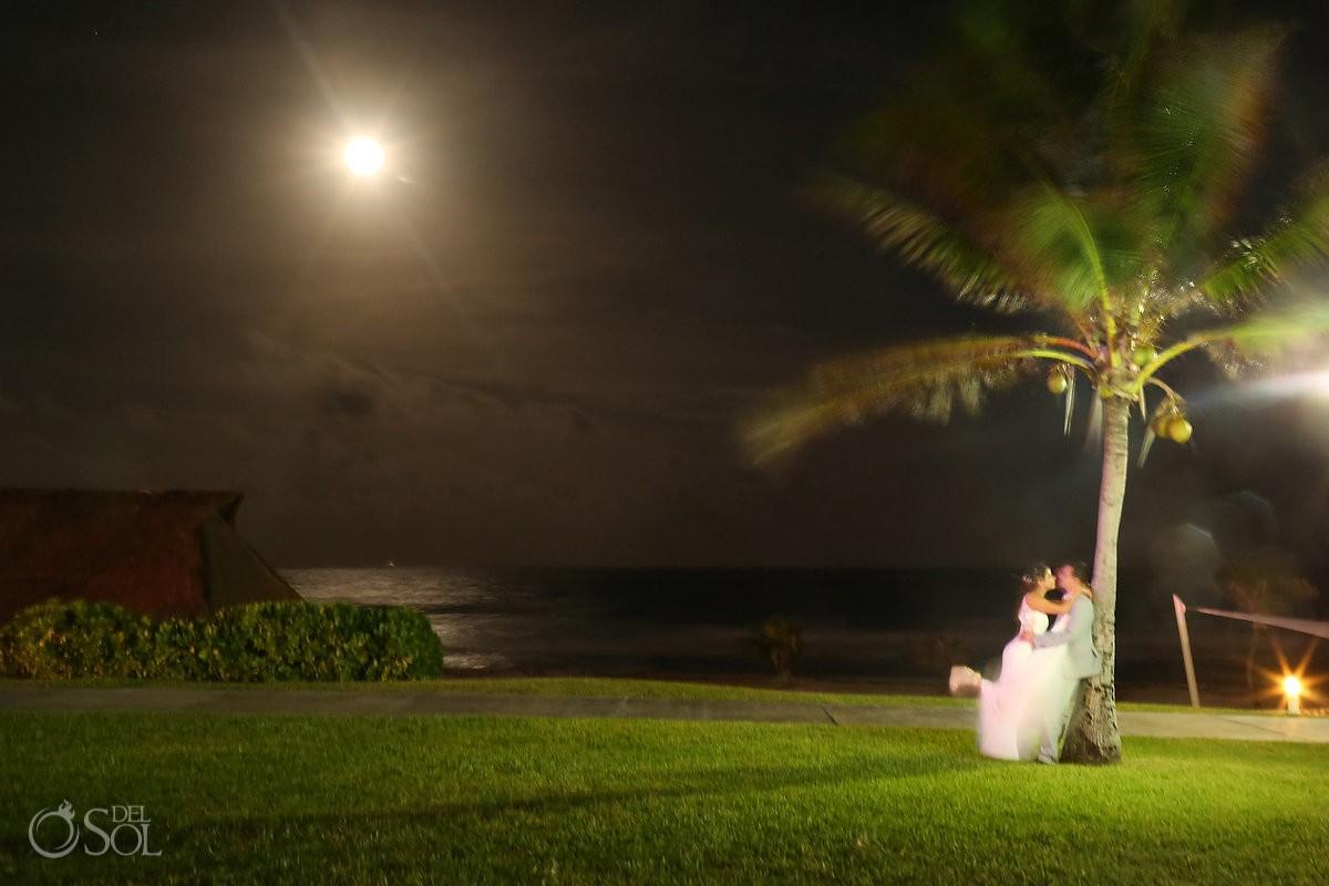 Long exposure full moon ocean palm tree, garden wedding reception, Iberostar Cancun, Mexico