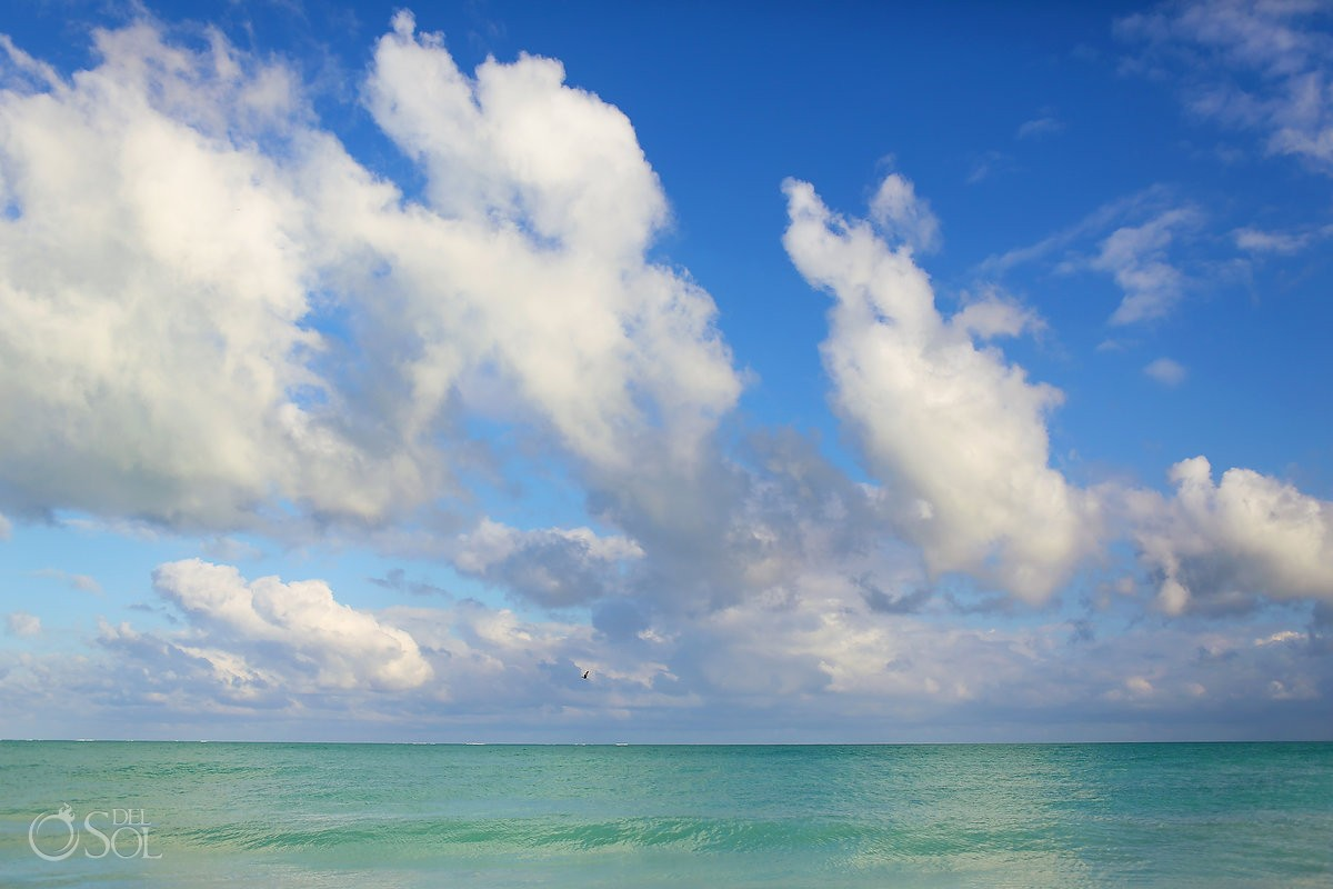 perfect beautiful turquoise blue Caribbean Ocean, IntraAwareness commercial shoot Isla Blanca, Cancun