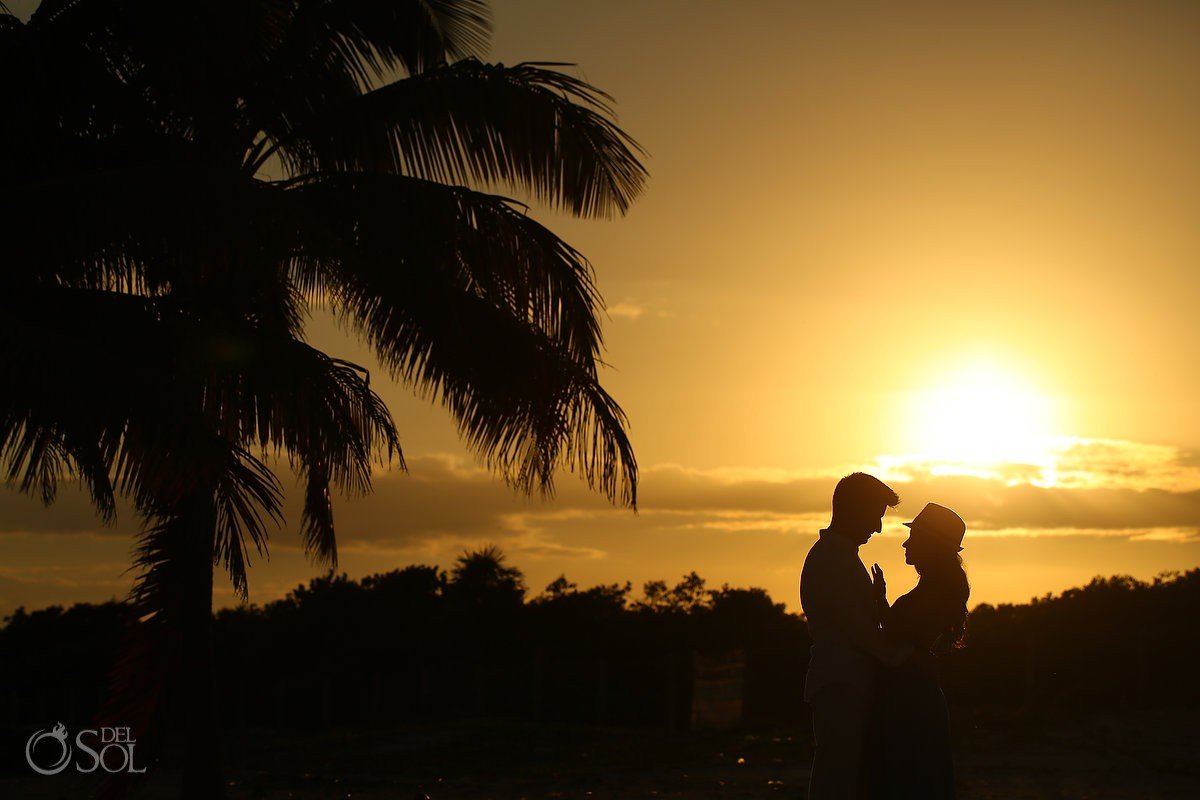 Sunset silhouette couple, IntraAwareness Commercial shoot, portraits Isla Blanca, Cancun