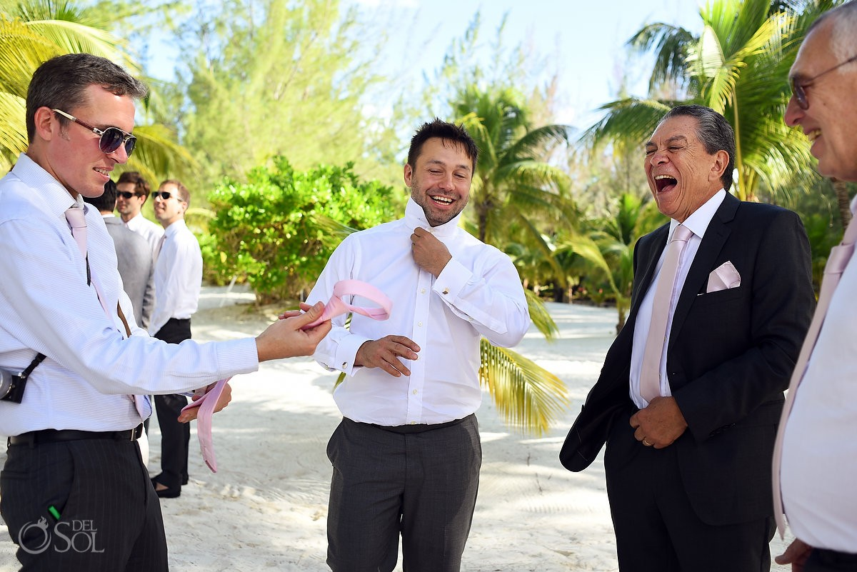 groomsmen candid laughing Catholic church chapel wedding Capilla Jesucristo Pescador, Isla La Pasion, Mexico