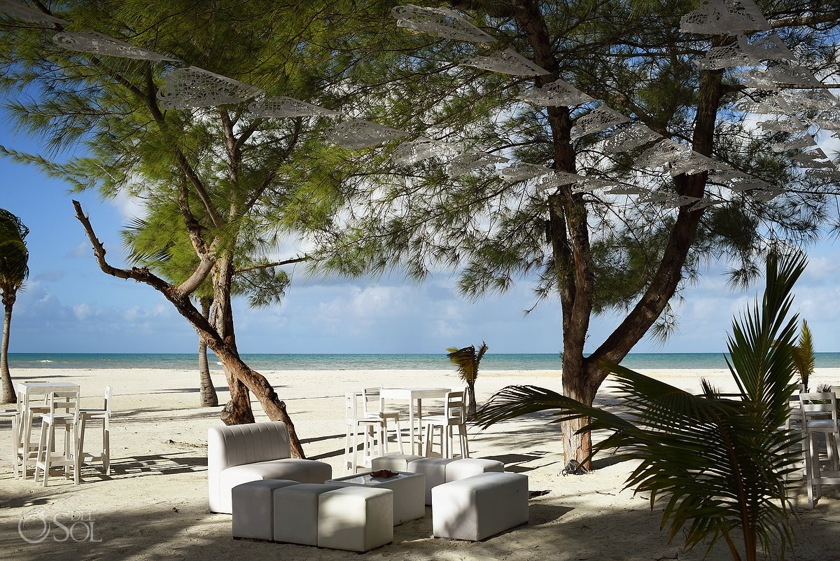 Caribbean island wedding beach lounge furniture, Isla Pasion Cozumel, Mexico