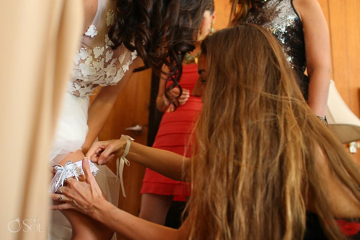 bride getting ready garter detail, isla pasion, cozumel mexico