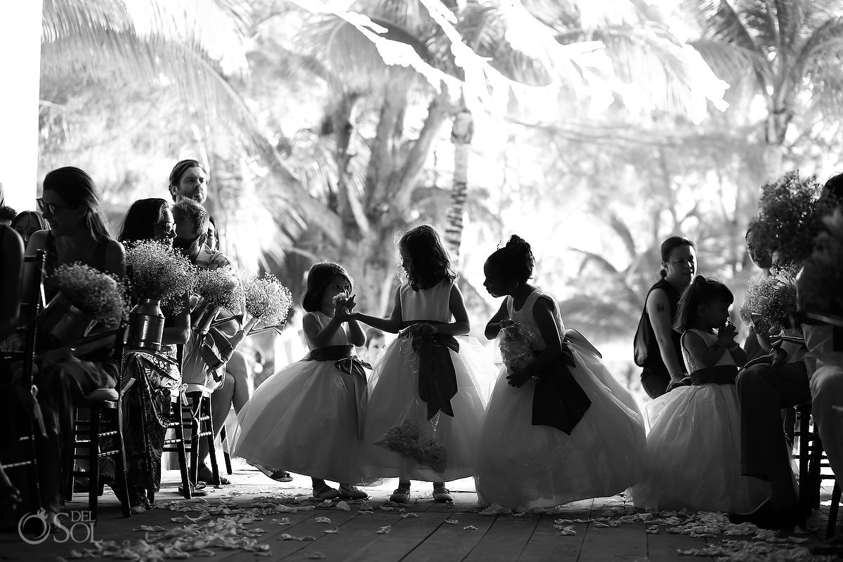 black white silhouette four cute flower girls entering church, Catholic church chapel wedding Capilla Jesucristo Pescador, Isla La Pasion, Mexico