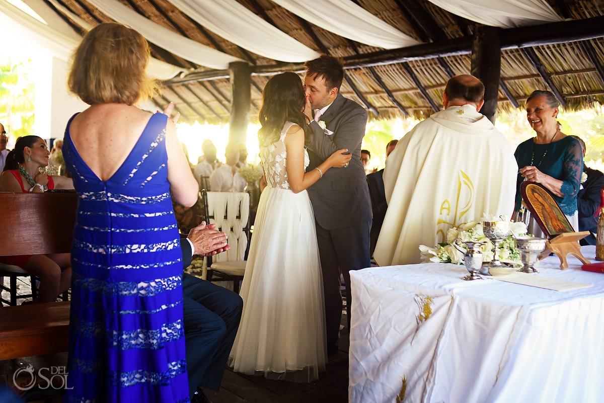 First kiss Catholic church chapel wedding Capilla Jesucristo Pescador, Isla La Pasion, Mexico