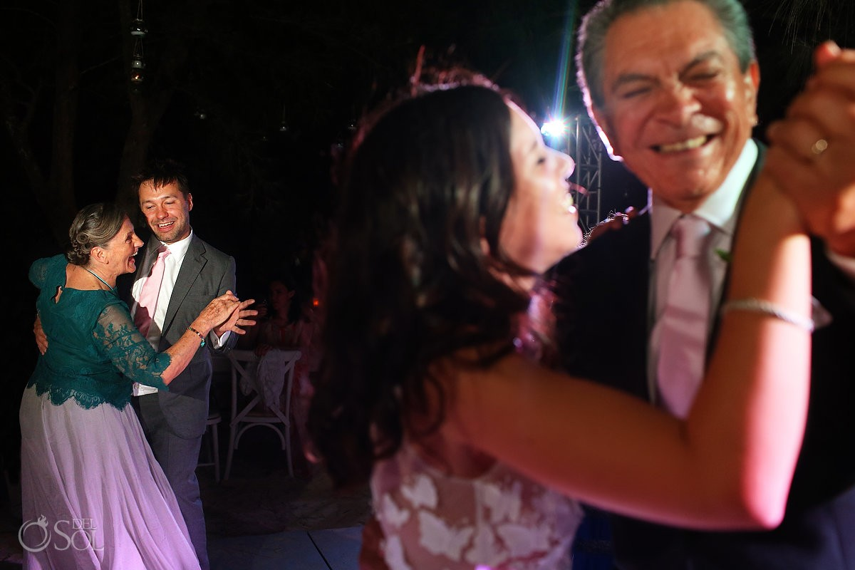 father daughter mother son first dance, Caribbean Island Wedding reception, Isla Pasion Cozumel Mexico