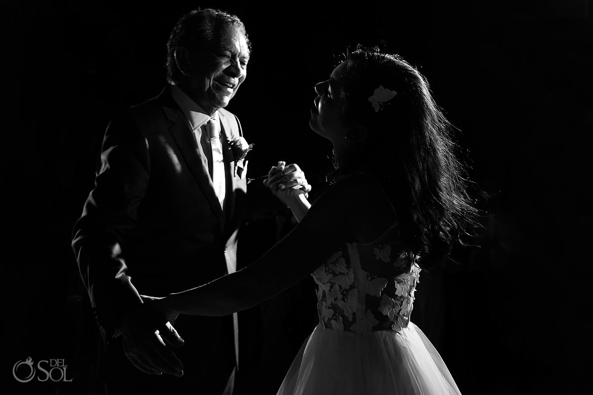 monochrome black with father daughter first dance, Caribbean Island Wedding reception, Isla Pasion Cozumel Mexico