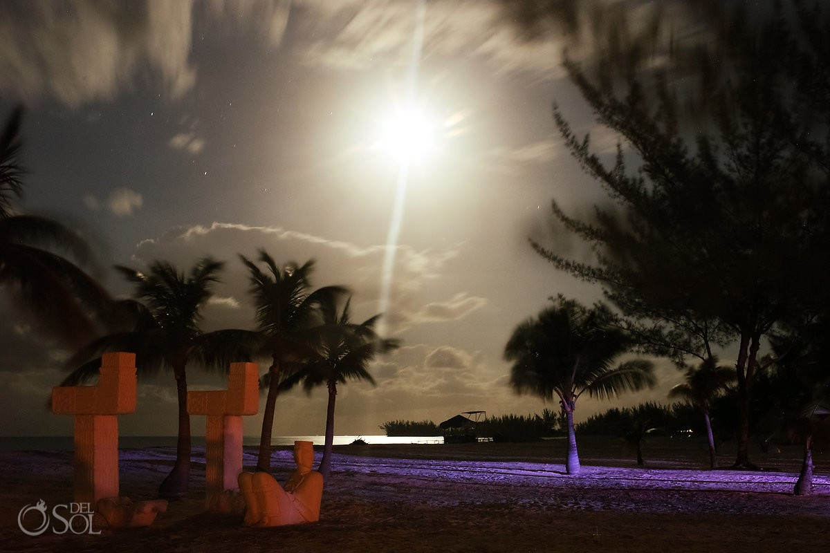 long exposure full moon night beach Caribbean Island Wedding reception, Isla Pasion Cozumel Mexico