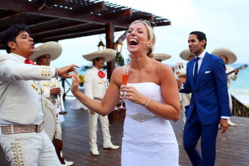 bride laughs twirl dance mariachi, cocktail hour Now Sapphire Beach Wedding, Riviera Maya, Mexico
