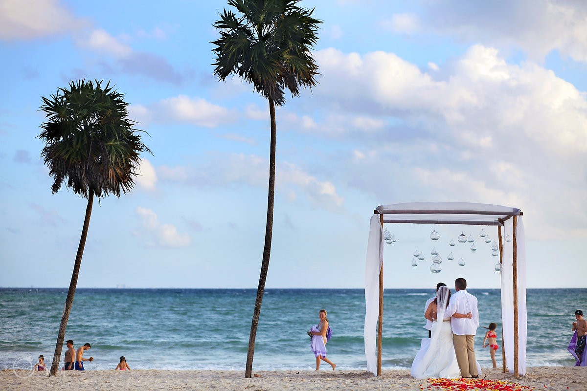 Beach wedding ceremony set up, street photography, people passing walking, photobomb, Elopement, Paradisus, Playa del Carmen, Mexico