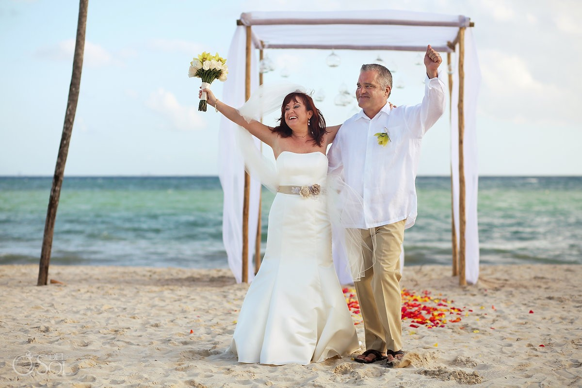 bride groom celebration, Beach Wedding Elopement Paradisus, Playa del Carmen, Mexico