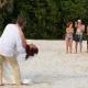 beachgoers cheer thumbs up newly married couple, Beach Wedding Elopement Paradisus, Playa del Carmen, Mexico