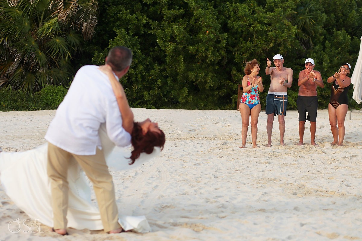 beachgoers cheer thumbs up newly married couple, Beach Wedding Elopement Paradisus, Playa del Carmen, Mexico