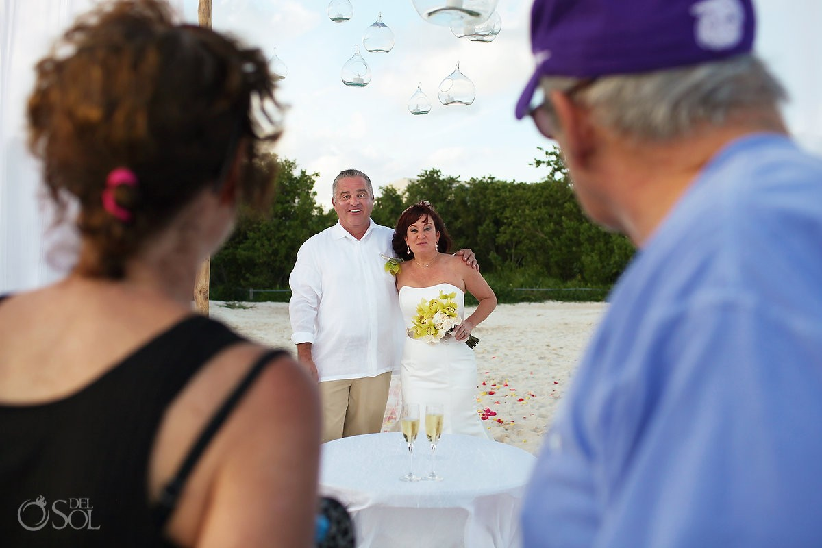 hotel guests congratulate bride groom, Beach Wedding Elopement Paradisus, Playa del Carmen, Mexico