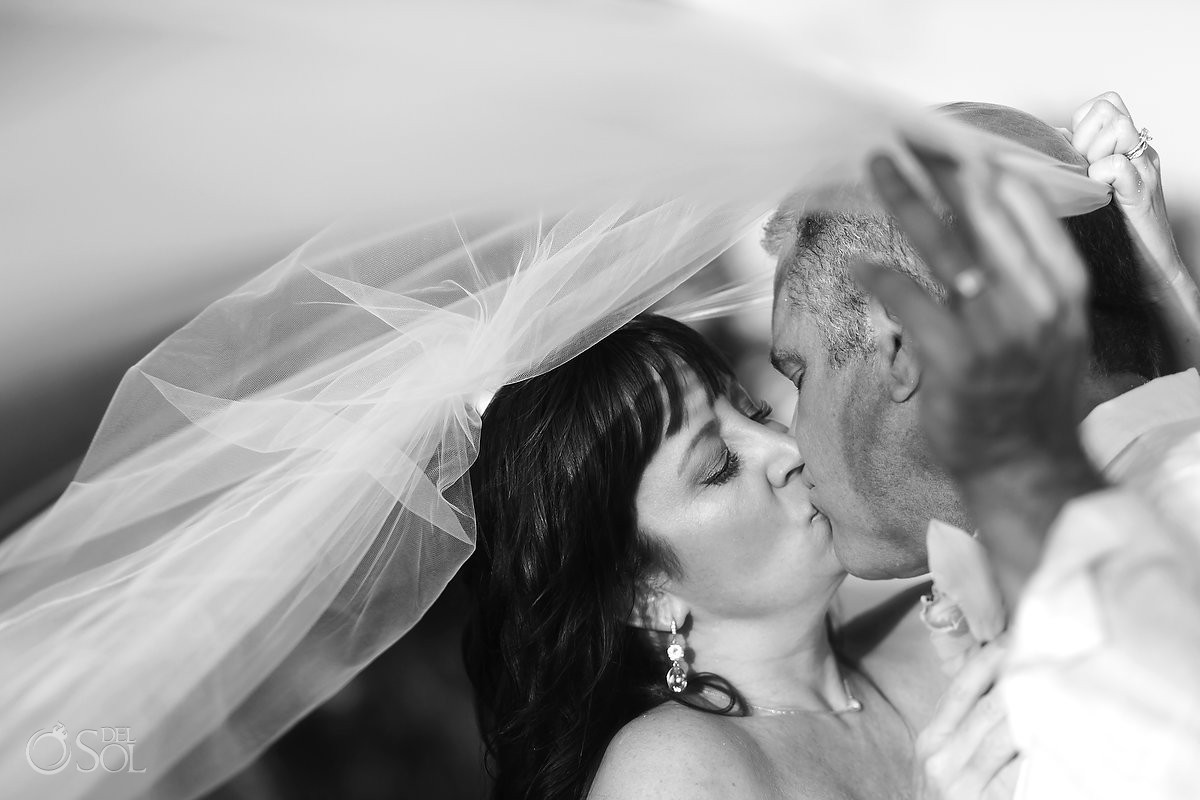 black white wedding portrait, veil, Beach Wedding Elopement Paradisus, Playa del Carmen, Mexico