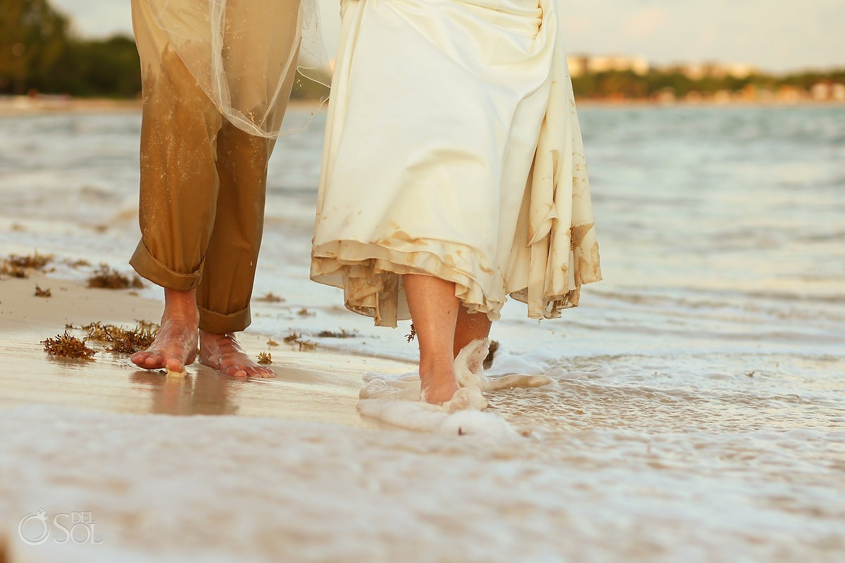 bride groom feet detail walking water ocean, beach wedding portraits, Elopement Paradisus, Playa del Carmen, Mexico