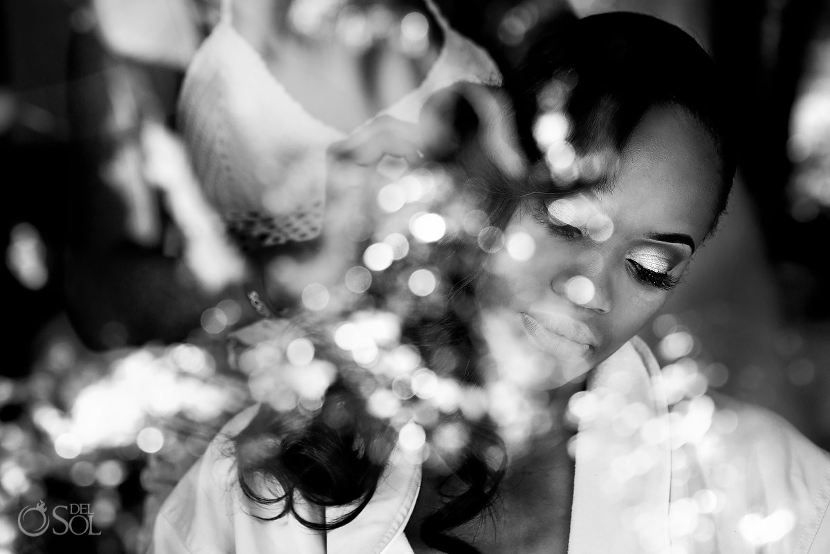 Artistic bride portrait getting ready Destination Wedding Sandos Playacar, Playa del Carmen, Mexico