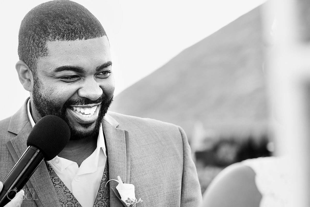 groom smiling black white portrait Destination Wedding Sandos Playacar, Playa del Carmen, Mexico
