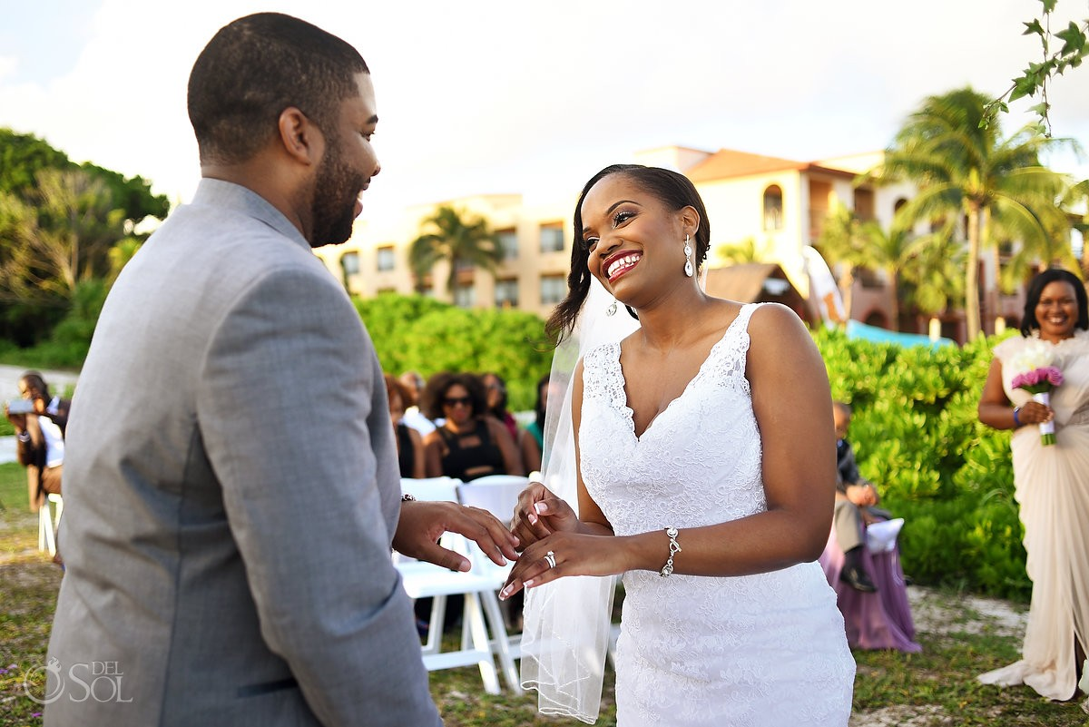 black bride laughing, Destination Wedding ceremony Sandos Playacar, Playa del Carmen, Mexico