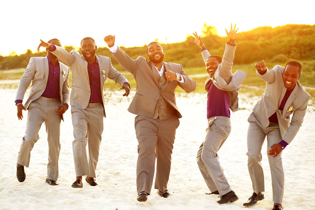 black groom groomsmen golden hour beach portrait, Destination Wedding Sandos Playacar, Playa del Carmen, Mexico