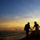 silouette Sunset beach wedding portrait, Destination Wedding Sandos Playacar, Playa del Carmen, Mexico