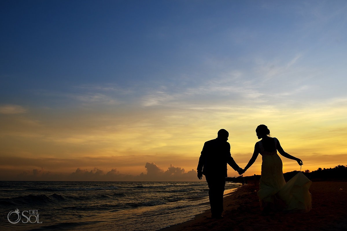 silouette Sunset beach wedding portrait, Destination Wedding Sandos Playacar, Playa del Carmen, Mexico