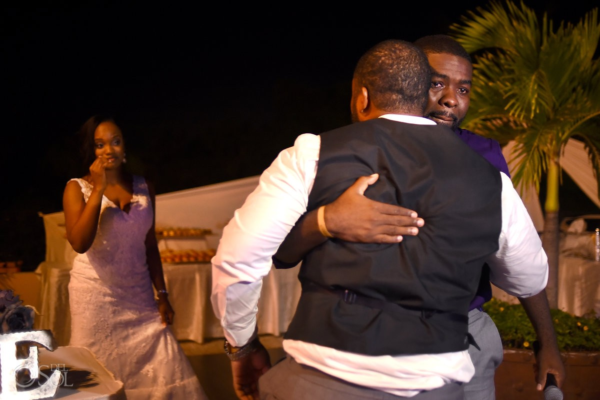 speaches emotional hugs wedding reception Sandos Playacar, Playa del Carmen, Mexico