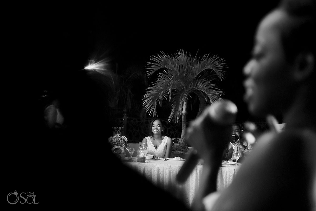black white creative framing, speeches, wedding reception Sandos Playacar, Playa del Carmen, Mexico