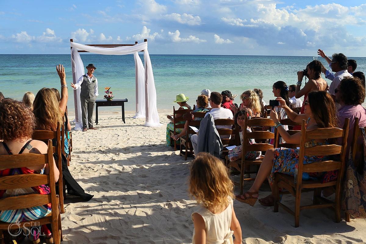 destination wedding beach ceremony setup at akumal bay resort mexico