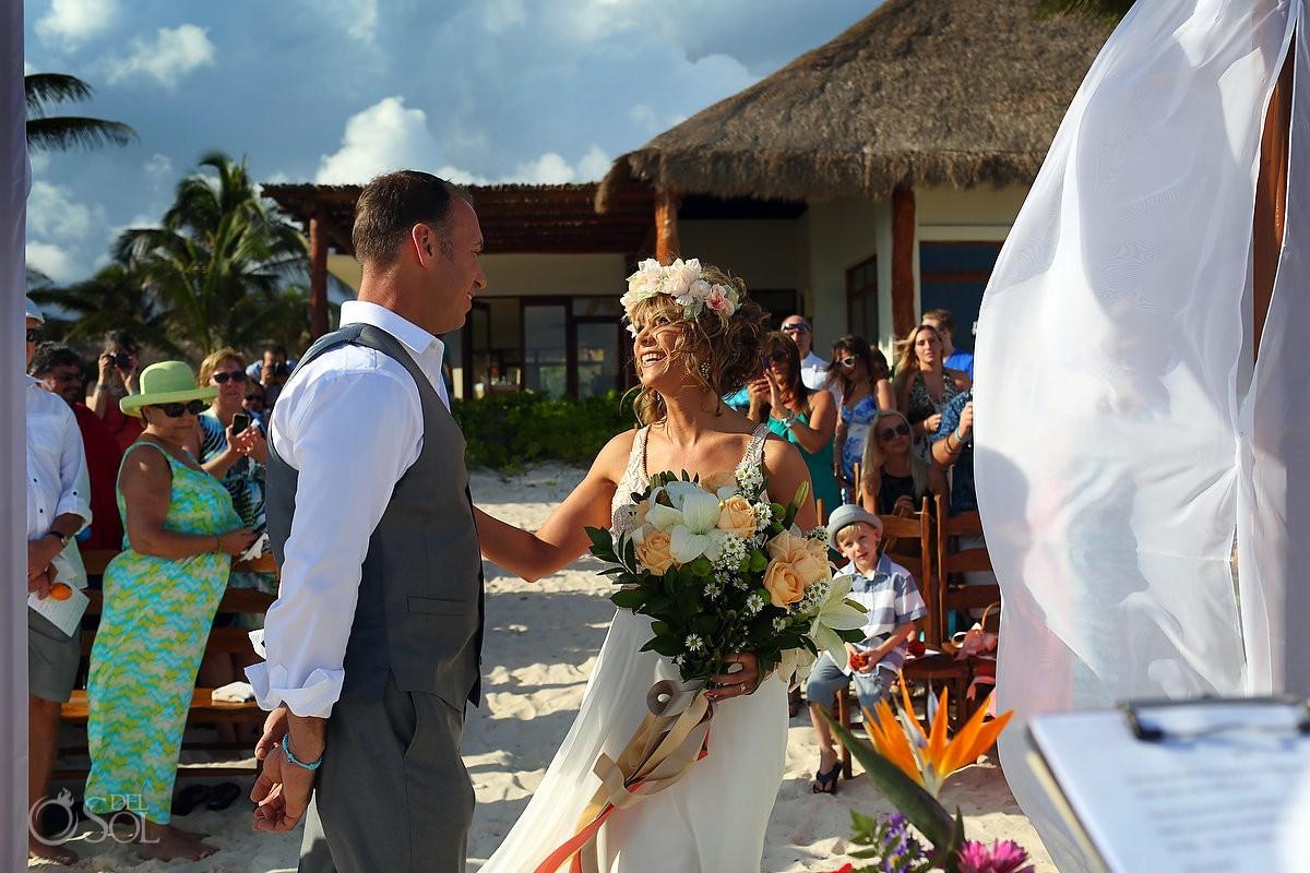 destination wedding processional at akumal bay resort mexico