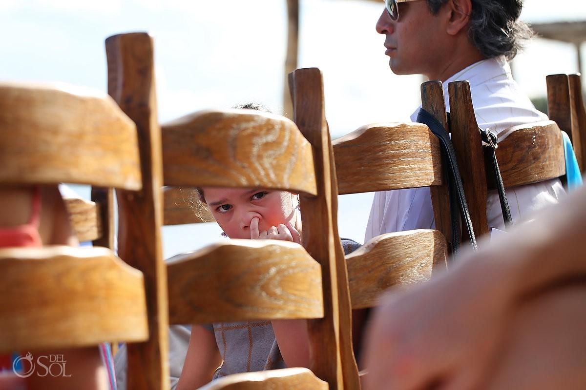 child picking his nose at akumal bay resort mexico destination wedding