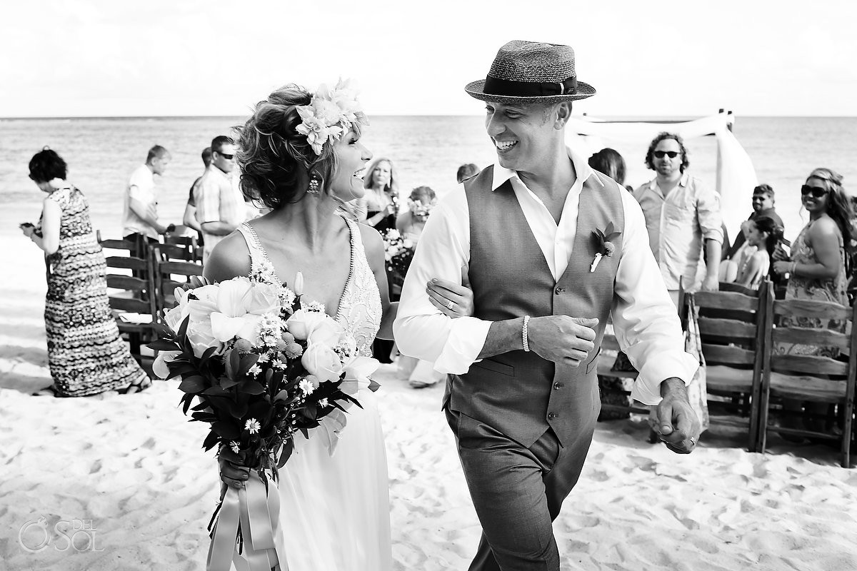 wedding recessional at Akumal Bay Beach destination wedding