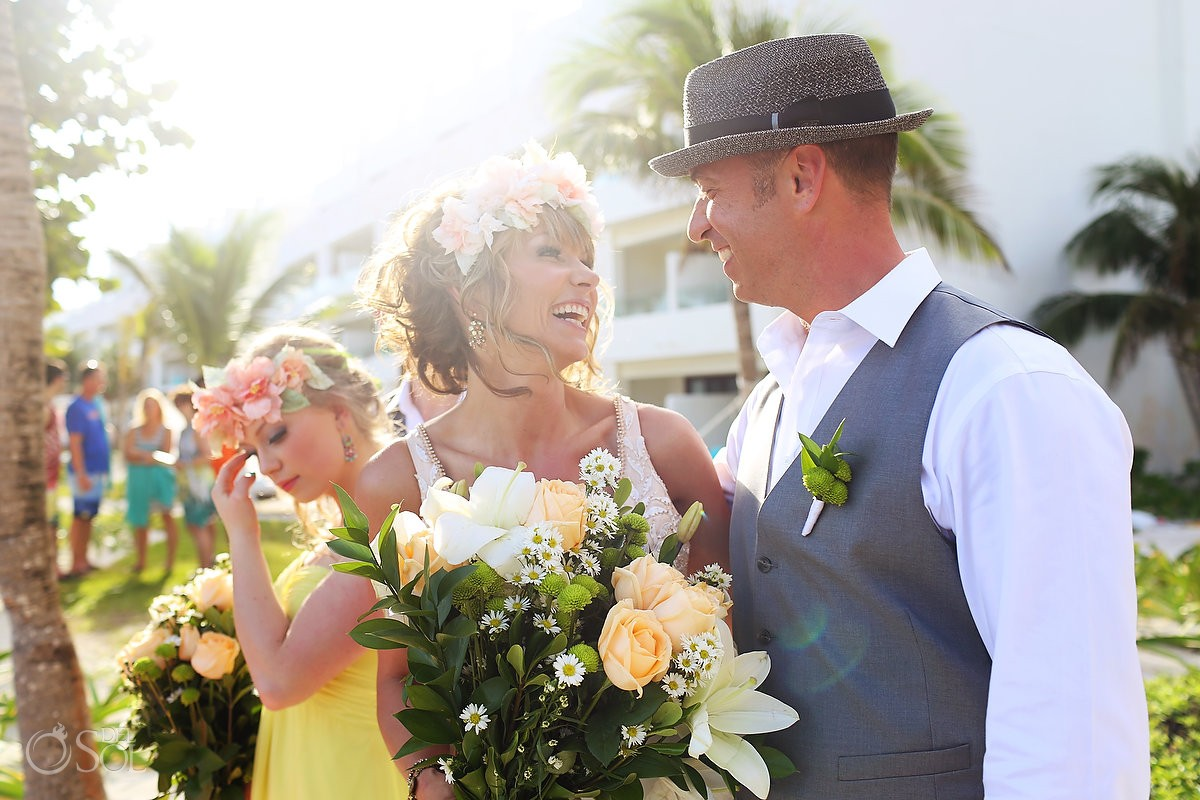 bride and groom portrait at Akumal Bay Beach destination wedding