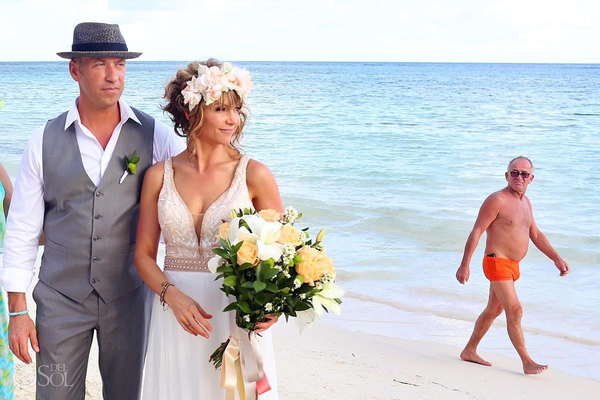 Photobomb at Akumal Bay Beach destination wedding
