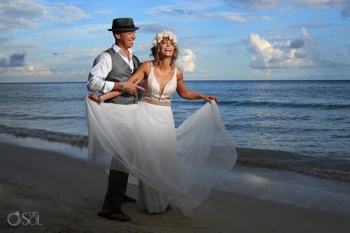 Akumal Bay Wedding Photo bride and groom Riviera Maya Mexico