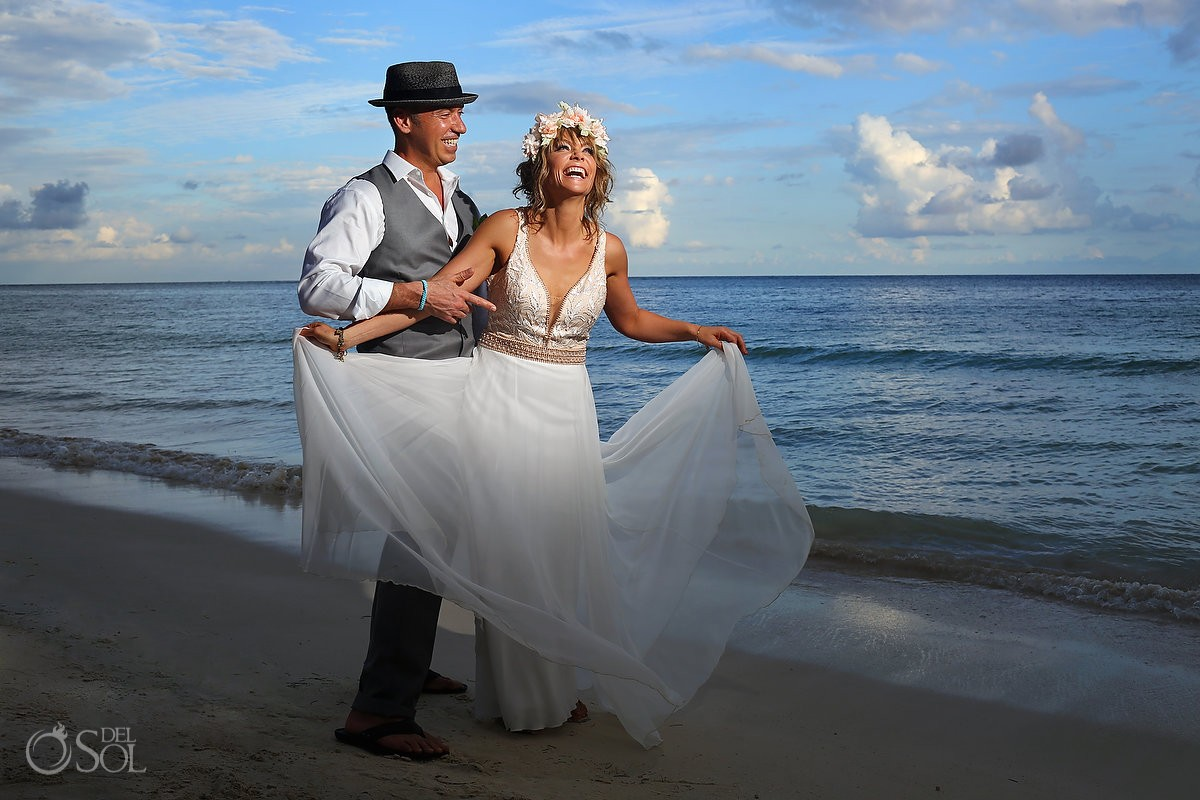 Akumal Bay Wedding Photo bride and groom Riviera Maya Mexico