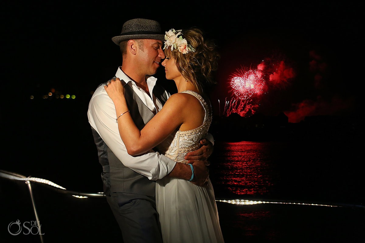 bride and groom at reception on h2o cruises private charter