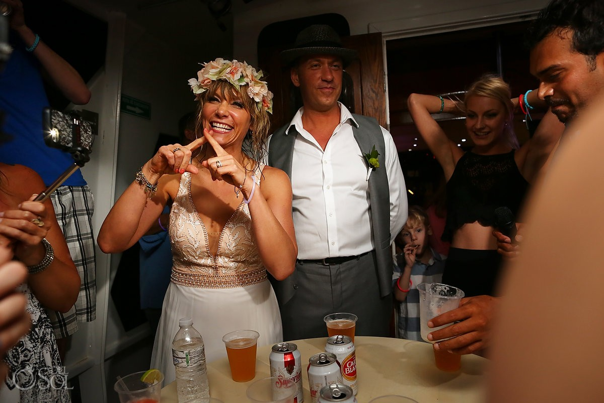 bride and groom with wedding guests h2o cruises private charter