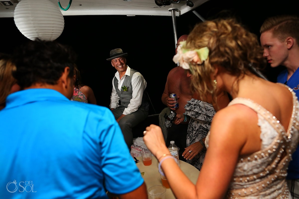 wedding guests at receptoin on h2o cruises private charter