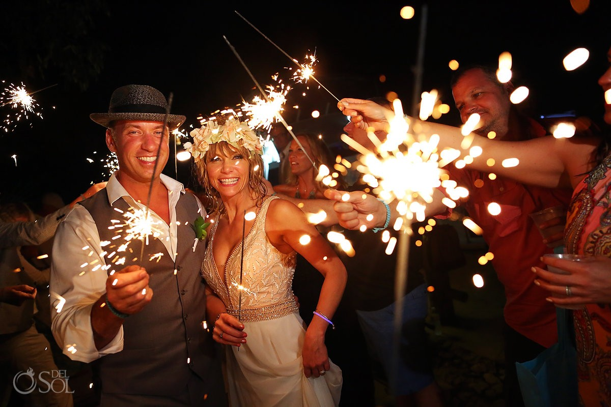 bride and groom sparkler reception exit mexico destination wedding