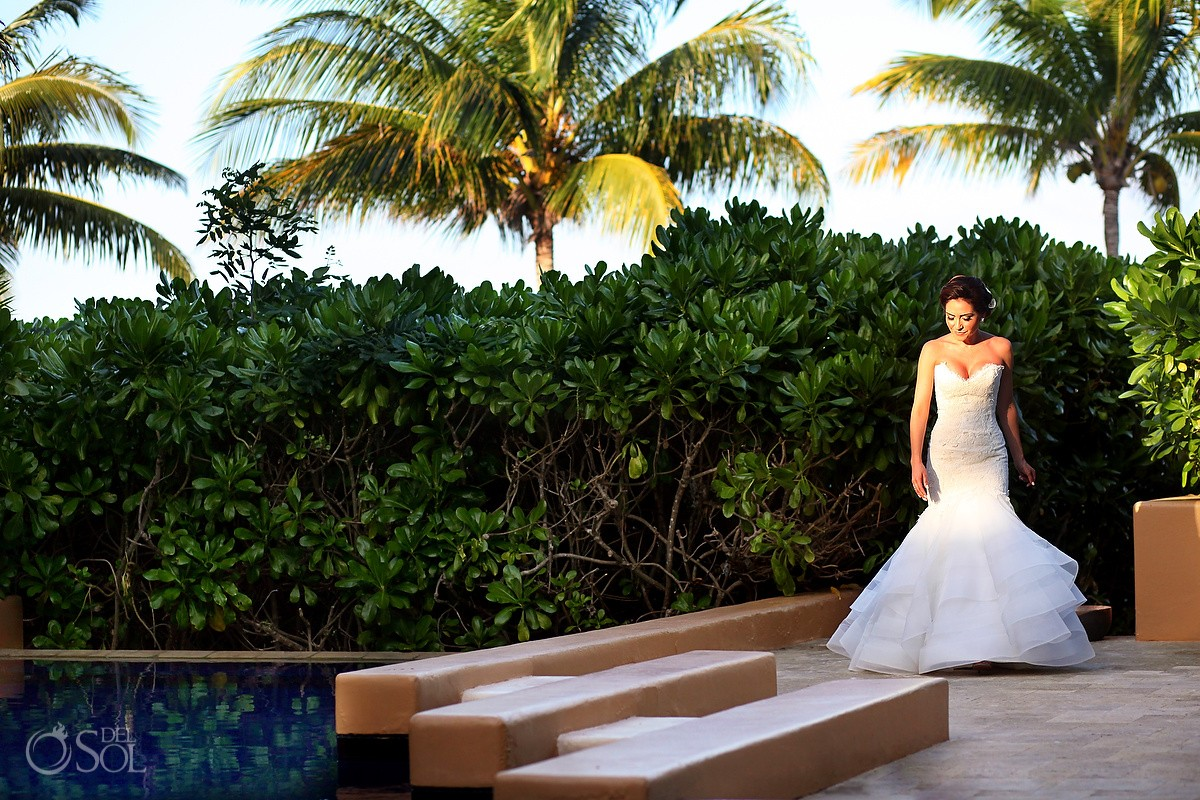 bridal portrait Gazebo Wedding Banyan Tree Mayakoba, Playa del Carmen, Mexico
