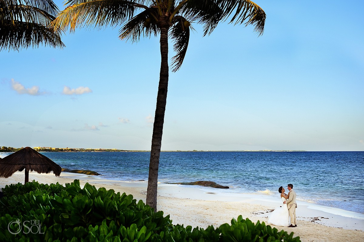 first look wedding portrait caribbean beach Banyan Tree Mayakoba, Playa del Carmen, Mexico